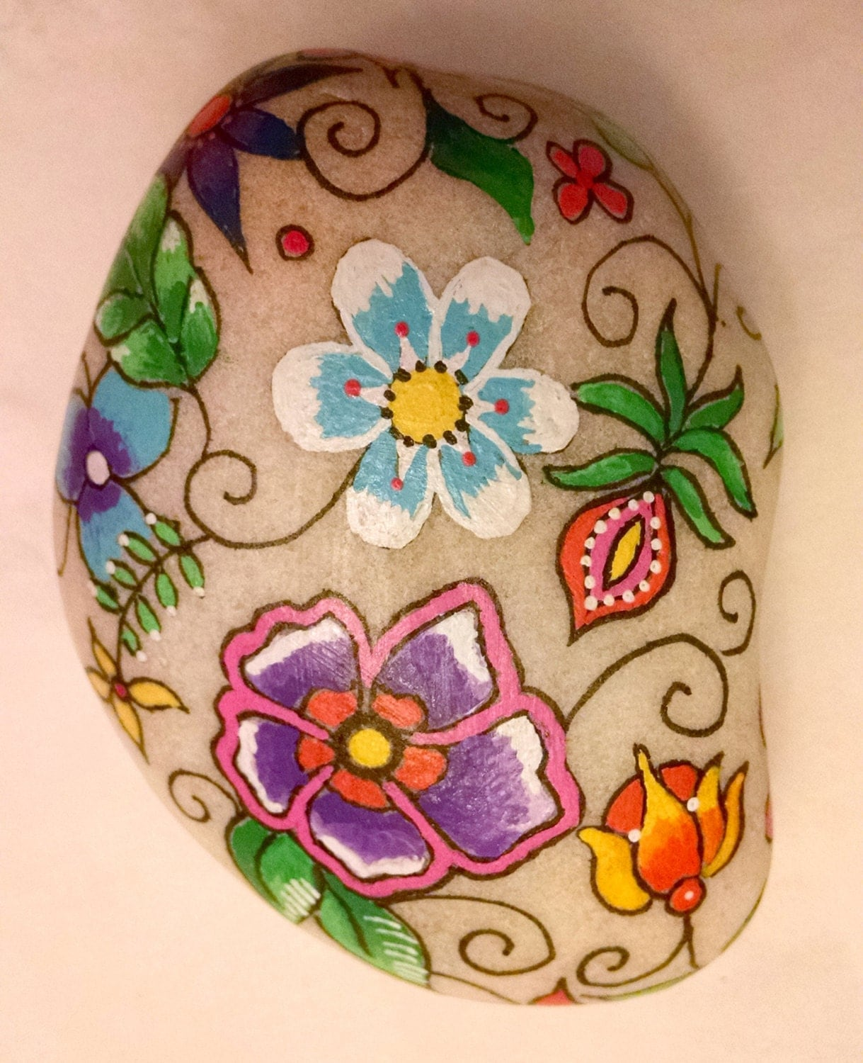 Painted Flowers on Rock Acrylic on Stone hand painted on Rock