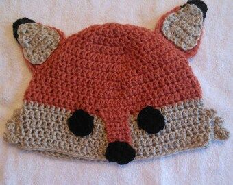 Handmade crochet fox hat