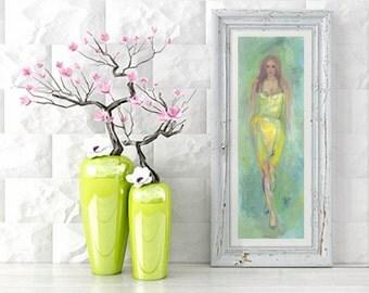 Yellow dress, art print, fine art print, print