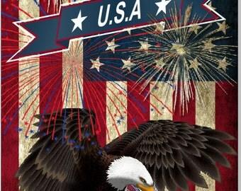 American Flag Eagle Fireworks Cornhole Wrap Bag Toss Decal Baggo Skin Sticker Wraps