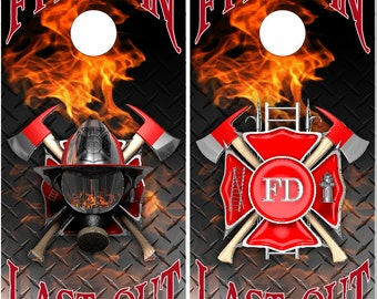 Firefighter First In Last Out Cornhole Wrap Bag Toss Decal Baggo Skin Sticker Wraps