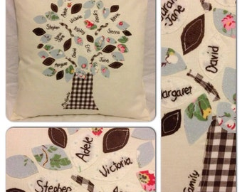 Family Tree Cushion in Blues and Browns. Personalised, hand embroidery. Family Keepsake, heirloom