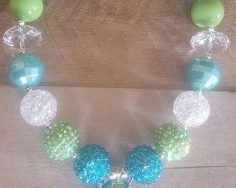 Seahorse Chunky Necklace, Bubblegum Necklace, Chunky Beads
