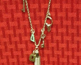 Cute long silver key and lock necklace