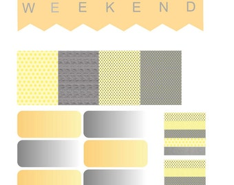 Yellow and Gray Printable Stickers
