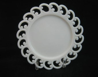 "Milk- Glass Lacy-Edged Plate in ""Backwards C"" Pattern by Fenton glass"