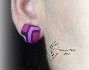 Pink retro earrings / Square earrings / Polymer clay earrings / Stud earrings