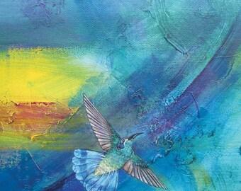 Hummingbird Ceramic Tile, Upward Flight