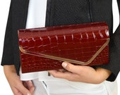 Wine Red Croc Embossed Patent Leather Clutch Bag Evening Handbag