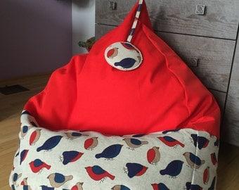 Linen bean bag chair cover | Housewarming gift | Red kids bean bag chair | Adult beanbag| Handmade bean bag cover | Natural fabrics bean bag
