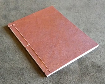 Unique Hand Dyed Rich Copper/Red Leather Japanese Stab Binding