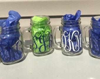 Country Bridesmaid Gift Ideas , Set Of Six Mason Jars , Simple Rustic , Personalized Mason Jars , Cheap Bridesmaid Gifts , Vine Monogram