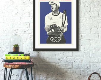 poster andy murray, olympic poster, tennis, union jack, great britain, scotland, murray, andy murray prints, tennis poster, scottish, tennis