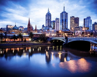 Melbourne photography fine art photograph city wallart urban decor View to Princes Bridge from Southgate FREE SHIPPING within AUSTRALIA