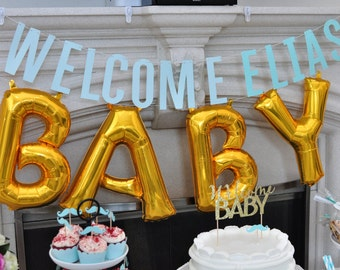 16 inch OH BABY Balloons, Gold Mylar Letter Balloons, Baby Shower, Photo Prop
