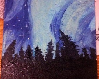 NORTHERN LIGHTS original acryclic painting on 9 X 12 inch  unframed Canvas