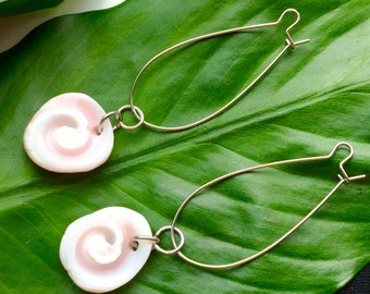 Pink Conch Shell Swirl Earrings
