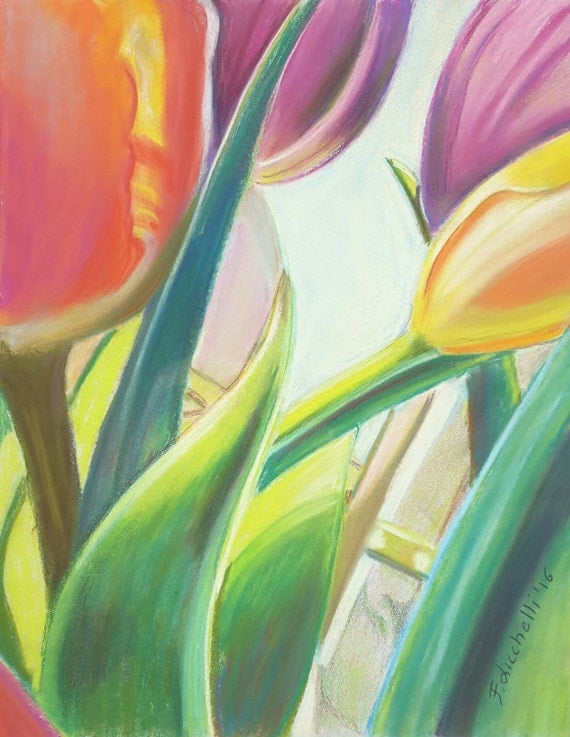 Orange and purple tulips, original pastel by Francesca Licchelli, Pastelmat paper, new home inauguration, special present idea for her, art.