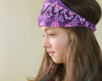 Girl's Boho Headscarf Purple Bohemian Hair Scarf Extra Wide Headband Alopecia Head Wrap Hair Loss Headwrap Headband (#2204)