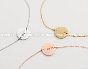 Personalized Custom Message Circle Bracelet / Initial Medium Disc Monogram / Delicate Monogram Hand Stamped Bracelet / BCR013