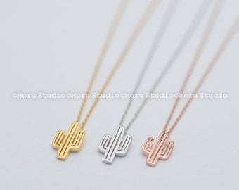 Personalized Dainty Cactus Necklace - Available in Gold, Silver, Rose Gold. Delicate Cactus Necklace, Layering Necklace, Gift Idea NBB076