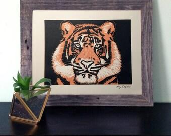 Tiger Reductive Linocut Print Wall Art