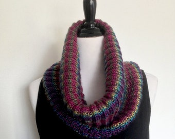 Women's Soft Knitted Cowl in Rainbow Colors