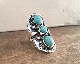 Tribal Ring Bohemian Ring Boho Ring Turquoise Ring Adjustable Ring