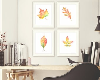 Fall Leaves, 4 leaves, Painting, Fall Decor, Autumn Leaves, Autumn, Welcome Fall, Colorful Leaves, Autumn Decor, Leaf Watercolor