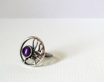 One of a kind Handmade sterling silver eco fantasy amethyst new moon ring