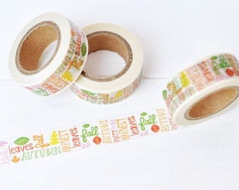 Fall Subway Art Washi Tape. 15mm x 10m. Fall Words. Fall Washi Tape. Autumn Washi Tape. Seasonal Washi Tape. Fall Planner Supplies.