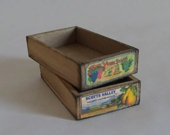 Dollhouse miniature wooden produce crate, empty, 1:12 display farm stand, kitchen
