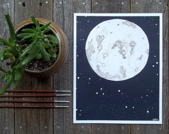 Moon and Stars 8x10 Art Print