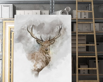 Deer art, deer wall art, animal print, deer head, deer prints, printable art, deer printable, deer art print, deer poster, instant download