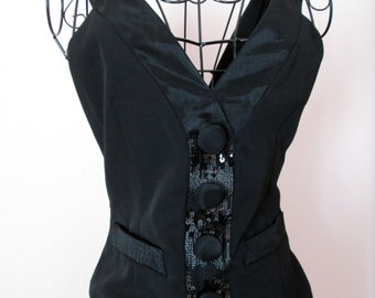 Black vest with sequined embellishment