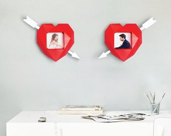 Papercraft photo frame, Valentine heart, Wedding decoration, Make your own 3d paper craft valentines day heart, printable DIY template, PDF