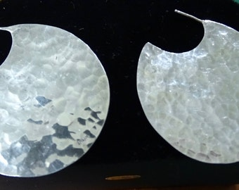 Sterling hammered pierced earrings