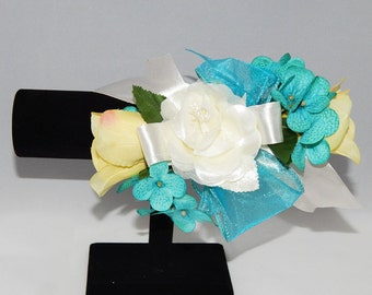 Blue & Yellow Rose Corsage