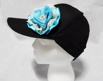 Baby Blue & White Ribbon Flower Hat