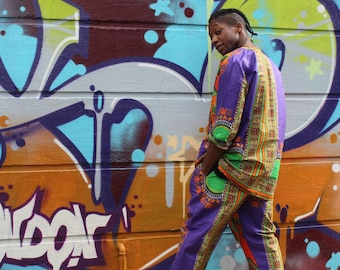 African Trousers - Allagi Trousers - Dashiki Trousers - Festival Clothing - Purple - Festival Trousers