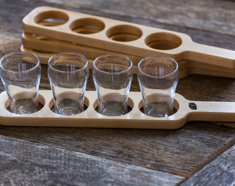 Beer Flight Paddle  (maple) with glasses
