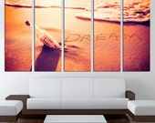 Beach sand sunset exstra large wall art 3 or 5 panel print ready to hang Canvas Prints Framed Photo on Canvas bedroom wall art Home Decor