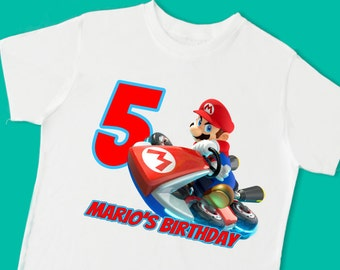 Mario Kart Birthday Tee. Super Mario Birthday T-Shirt. Personalized with Name Age or Number (15091)