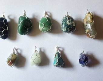 Wire-Wrapped Stone Pendant