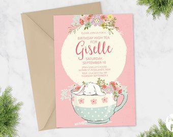 Printable Birthday Invite | Kids Birthday | High Tea | Girls Birthday | Bunny | Rabbit | Watercolour Watercolor Teacup Flowers Floral