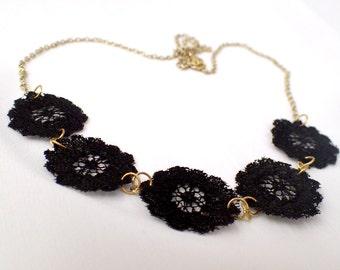 Black Lace Floret Necklace