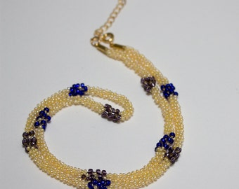 Striped necklace beads Cobalt and Amethyst