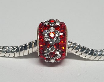 Red and Clear Flower Rhinestone Bead for European Bracelets (item R013)