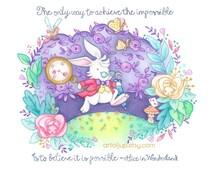 Art print - Disney white rabbit, Alice in Wonderland print, quote, wall decor