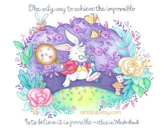 White rabbit wall art print-  Alice in wonderland art quote